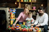 Enjoy Concept. Little Child And Family Enjoy Playing With Toy Bricks. Learn To Enjoy And Enjoy Learn poster
