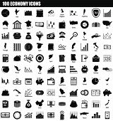 100 Economy Icon Set. Simple Set Of 100 Economy Vector Icons For Web Design Isolated On White Backgr poster