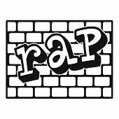 Rap Bricks Wall Icon, Simple Style Illustration Web poster