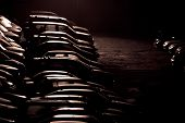 image of parking lot  - stylized photo of the parking at night - JPG