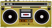 Tape Audio Cassette Vintage Music Player, Boom Box Vector Illustration poster