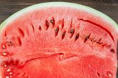 Natural Texture Of Watermelon With Bones In A Close-up Cut, Top View. Place And Background For Text poster