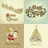 image of christmas cards  - Set of Christmas Cards in vintage style - JPG
