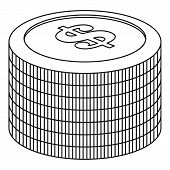 Heap Of Coin Icon. Outline Illustration Of Heap Of Coin  Icon For Web poster