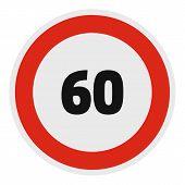 Maximum Speed Limit Icon. Flat Illustration Of Maximum Speed Fifty Limit  Icon For Web. poster