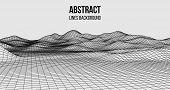 Wireframe Landscape Wire. Wireframe Terrain Polygon Landscape Design. 3D Landscape poster