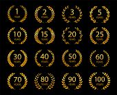 Set Of Anniversary Laurel Wreaths. Golden Anniversary Symbols Isolated On Black Background. 1,2,3,5, poster