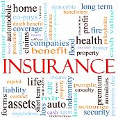 image of asset  - An illustration around the word insurance with lots of different terms such as home auto health life assets property copays benefits and a lot more - JPG
