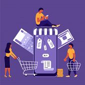 Business People, Man And Woman Shop Online Using Smartphone, In Flat Modern Style. Concept For Mobil poster