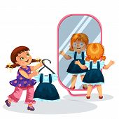 Smiling Schoolchildren Trying On Nice Uniforms In Front Of Mirror Vector Illustration. Cheerful Girl poster