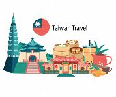 Taiwan Travel With Famous Landmarks And Foods, All In Flat Style Background Banner, Illustration, Ve poster