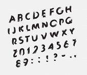 Font Dirt, Scratched Handdraw Letters, Scratches On The Letters, Black Brush, Vector Alphabet poster