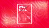 Wave Lines. Abstract Geometric Template With Distorted Stripes And Gradient. Flow Background In Mini poster