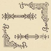 Set Of Vintage Corners And Dividers In Grunge Style. Elegant Hand Drawn Retro Border. Design Element poster