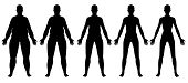 picture of flabby  - A front view illustration of 5 female silhouette - JPG