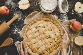 Cooking Apple Pie. Hands Holding Apple Pie Ready To Be Baked. Apple Pie Ingredients On Wooden Table poster