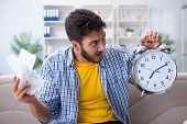 Man frustrated at bills he needs to pay in time management conce poster