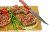 grilled spicy meat on wood over white poster