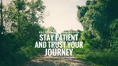 Motivational And Inspirational Quote - Stay Patient And Trust Your Journey. Blurred Vintage Styled B poster