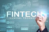 Fintech. Financial Technology Text On Virtual Screen. Business, Internet And Technology Concept. poster