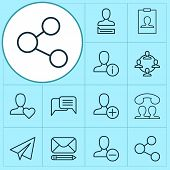 Network Icons Set With Social Network, Messaging, Information And Other Team Organisation Elements.  poster