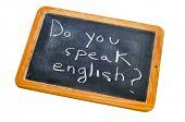 Постер, плакат: предложение вы говорите Английский написанные мелом на доске