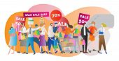 Shopping Mall Crowd Vector Illustration. Family In Sale Center And Store. American Lifestyle And Buy poster