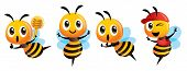 Cartoon Cute Bee Mascot Set. Cartoon Cute Bee Showing Victory Sign, Holding A Honey Dipper And Weari poster
