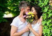 Man Bearded Hipster Kisses Girlfriend. Secret Romantic Kiss. Moment Of Intimacy. Couple Love Romanti poster