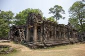Ancient Ruins Of Banteay Kdei Temple In Angkor Wat Complex, Cambodia. Stone Temple Ruin Restoration  poster