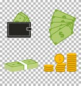 Set Moneydollars And Coins On Transparent Background. Set Moneydollars And Coins Sign. Moneydollars  poster