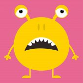 Cute Yellow Monster Icon. Happy Halloween. Cartoon Colorful Scary Funny Character. Eyes, Ears, Nose, poster