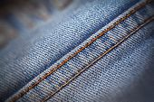 Macro Texture Shabby Blue Denim With Yellow Stitched Thread poster