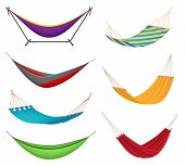 Different Types Colorful Hanging Fabric Rope Hammocks Set With Poolside Attached To Stands Variety I poster
