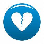 Broken Heart Icon. Simple Illustration Of Broken Heart Icon For Any Design Blue poster