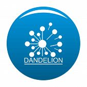 Meadow Dandelion Logo Icon. Simple Illustration Of Meadow Dandelion Icon For Any Design Blue poster