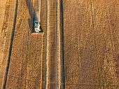 Aerial View On Combine Working On Rye Field poster