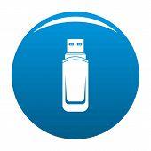 Mini Flash Drive Icon. Simple Illustration Of Mini Flash Drive Icon For Any Design Blue poster