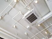 White Industrial Air Conditioner Cooling Pipe With Plumbing At Ceiling. Ventilation System Ceiling A poster