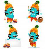 Happy Krishna Janmashtami Greeting Card. Funny Cartoon Character Lord Krishna Indian God, Set Of Fou poster