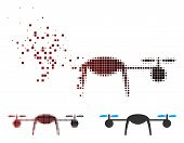 Vector Airdrone Icon In Fractured, Dotted Halftone And Undamaged Solid Variants. Disappearing Effect poster