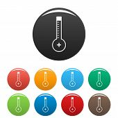 Thermometer Warmly Icon. Simple Illustration Of Thermometer Warmly Icons Set Color Isolated On White poster