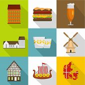 European Hinterland Icons Set. Flat Set Of 9 European Hinterland Vector Icons For Web Isolated On Wh poster