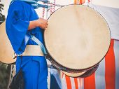 Drummer Performance, Taiko Drum, Japanese Folklore. Japanese Artist Perform At Bon Festival In Blue  poster