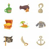 Life Of A Pirate Icons Set. Cartoon Set Of 9 Life Of A Pirate Vector Icons For Web Isolated On White poster