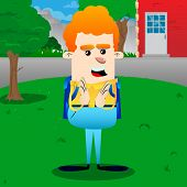 Schoolboy With Clapping Hands. Vector Cartoon Character Illustration. poster