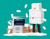 Businessman In Pile Of Papers. Office Multifunction Machine. Bureaucracy, Paperwork, Overwork, Offic poster