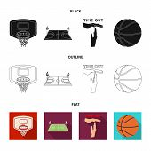Basketball And Attributes Black, Flat, Outline Icons In Set Collection For Design.basketball Player  poster