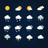 Weather Icons Sun And Clouds In Sky, Rain With Snow, Thunder And Lightning. Flat Vector Weather And  poster