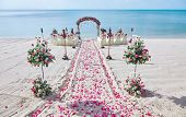 Beach Wedding Venue Setting On The White Sand With Beautiful Panoramic Ocean View Background, Pink A poster